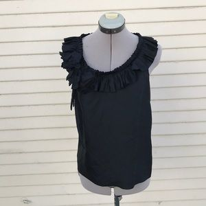 J.crew black silk flower tank top size 0